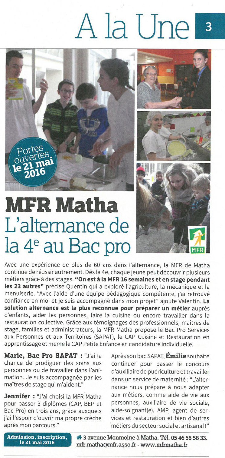 Mfr de matha mfr de matha for Alternance restauration collective